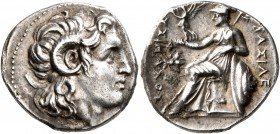KINGS OF THRACE. Lysimachos, 305-281 BC. Drachm (Silver, 18 mm, 4.24 g, 12 h), Ephesos, circa 295/4-289/8. Diademed head of Alexander the Great to rig...