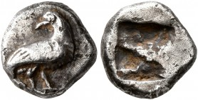 MACEDON. Eion (?). Circa 480-470 BC. Obol (Silver, 9 mm, 1.14 g). Goose standing right, head to left. Rev. Rough incuse square. SNG ANS 270-72. SNG Co...