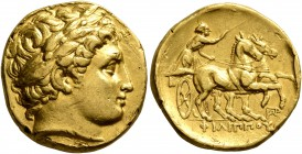 KINGS OF MACEDON. Philip II, 359-336 BC. Stater (Gold, 18 mm, 8.52 g, 4 h), Abydos, struck under Leonnatos, Arrhidaios, or Antigonos I Monophthalmos, ...