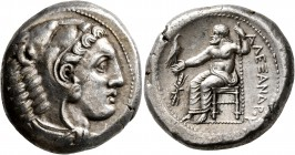 KINGS OF MACEDON. Alexander III 'the Great', 336-323 BC. Tetradrachm (Silver, 26 mm, 17.25 g, 9 h), Amphipolis, struck under Antipater, circa 332-326....