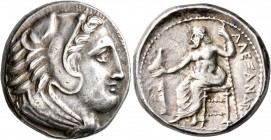 KINGS OF MACEDON. Alexander III 'the Great', 336-323 BC. Tetradrachm (Silver, 25 mm, 17.20 g, 9 h), Amphipolis, circa 325-323/2. Head of Herakles to r...