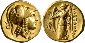 KINGS OF MACEDON. Alexander III 'the Great', 336-323 BC. Stater (Gold, 18 mm, 8.59 g, 1 h), Amphipolis, struck under Antipater, circa 325-319. Head of...