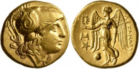 KINGS OF MACEDON. Alexander III 'the Great', 336-323 BC. Stater (Gold, 18 mm, 8.54 g, 12 h), Abydos (?), struck by Antigonos I Monophthalmos, 323-317....