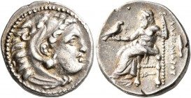 KINGS OF MACEDON. Alexander III 'the Great', 336-323 BC. Drachm (Silver, 17 mm, 4.26 g, 2 h), 'Kolophon'', circa 323-319. Head of Herakles to right, w...