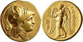 KINGS OF MACEDON. Alexander III 'the Great', 336-323 BC. Stater (Gold, 19 mm, 8.56 g, 12 h), 'Kolophon', struck under Antigonos Monophthalmos, circa 3...