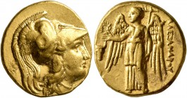 KINGS OF MACEDON. Alexander III 'the Great', 336-323 BC. Stater (Gold, 18 mm, 8.62 g, 1 h), Sardes, circa 334-323. Head of Athena to right, wearing Co...