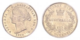 AUSTRALIA. Victoria, 1837-1901. Gold Sovereign 1866, Sydney. 7.99 g. KM-4. In US plastic holder, graded PCGS AU58, certification number 84644353.