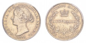 AUSTRALIA. Victoria, 1837-1901. Gold Sovereign 1870, Sydney. 7.99 g. Calendar year mintage 1,220,000. KM-4. In US plastic holder, graded PCGS AU55, ce...