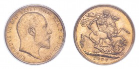 AUSTRALIA. Edward VII, 1901-10. Gold Sovereign 1909-S, Melbourne. 7.99 g. In US plastic holder, graded PCGS MS63, certification number 14249681.
