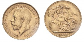 AUSTRALIA. George V, 1910-36. Gold Sovereign 1913-P, Perth. 7.99 g. EF.