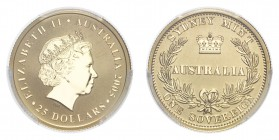 AUSTRALIA. Elizabeth II, 1952-. Gold Sovereign 2005, Sydney. 7.99 g. In US plastic holder, graded PCGS MS69, certification number 33553723.