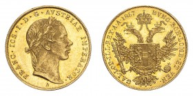AUSTRIA. Franz Josef I, 1848-1916. Gold Ducat 1857-A, Vienna. 3.49 g. Fb. 490; J. 297; Schl. 374. In US plastic holder, graded PCGS MS62, certificatio...