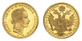 AUSTRIA. Franz Josef I, 1848-1916. Gold Ducat 1860-A, Vienna. 3.49 g. Fb. 491; J. 330; Schl. 448. In US plastic holder, graded PCGS MS63, certificatio...