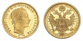 AUSTRIA. Franz Josef I, 1848-1916. Gold Ducat 1861-A, Vienna. 3.49 g. Fb. 491; J. 330; Schl. 449. In US plastic holder, graded PCGS MS63, certificatio...