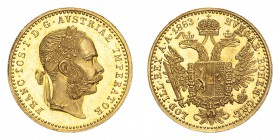 AUSTRIA. Franz Josef I, 1848-1916. Gold Ducat 1883-A, Vienna. 3.49 g. Fb. 493; J. 344; Schl. 547. In US plastic holder, graded PCGS MS62, certificatio...