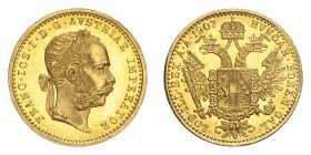AUSTRIA. Franz Josef I, 1848-1916. Gold Ducat 1907-A, Vienna. 3.49 g. Fb. 493; J. 344; Schl. 571. In US plastic holder, graded PCGS MS64, certificatio...