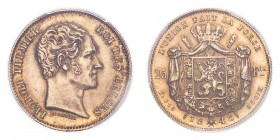 BELGIUM. Leopold I, 1831-65. Gold 25 Francs 1848, 7.89 g. KM-13.1; Fr-405. In US plastic holder, graded PCGS AU55.