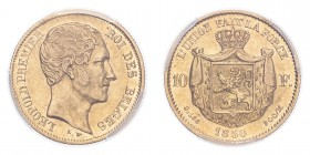 BELGIUM. Leopold I, 1831-65. Gold 10 Francs 1850, 3.23 g. KM-18; Fr-408. In US plastic holder, graded PCGS XF45.