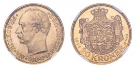 DENMARK. Frederik VIII, 1906-12. Gold 20 Kroner 1911, Copenhagen. 8.96 g. Calendar year mintage 183,000. KM# 810. Very choice piece from this short-re...