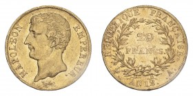 FRANCE. Napoleon I, 1804-14, 1815. Gold 20 Francs An 12-A (1803/04), Paris. 6.45 g. Gad-1020; Fr-487. EF, hairlines.