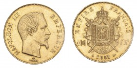 FRANCE. Napoleon III, 1852-70. Gold 100 Francs 1855-A, Paris. 32.26 g. Gad-1135; Fr-570. EF.