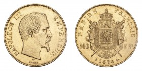 FRANCE. Napoleon III, 1852-70. Gold 100 Francs 1856-A, Paris. 32.26 g. Gad-1135; Fr-570. EF.