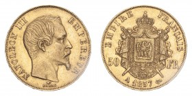FRANCE. Napoleon III, 1852-70. Gold 50 Francs 1857-A, Paris. 16.13 g. Gad-1111; Fr-571. EF.