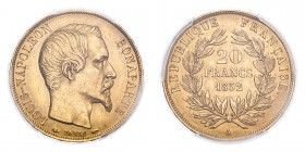 FRANCE. Napoleon III, 1852-70. Gold 20 Francs 1852-A, Paris. 6.45 g. Gad-1060; Fr-568. In US plastic holder, graded PCGS AU58, certification number 34...
