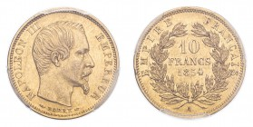 FRANCE. Napoleon III, 1852-70. Gold 10 Francs 1854-A, Paris. 3.23 g. Gad-1013; Fr-576. In US plastic holder, graded PCGS AU55, certification number 83...