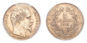 FRANCE. Napoleon III, 1852-70. Gold 5 Francs 1855-A, Paris. 1.61 g. Gad-1000; Fr-578. In US plastic holder, graded PCGS MS63, certification number 341...