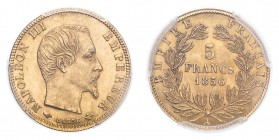 FRANCE. Napoleon III, 1852-70. Gold 5 Francs 1856-A, Paris. 1.61 g. Gad-1001; Fr-578a. In US plastic holder, graded PCGS MS64, certification number 35...
