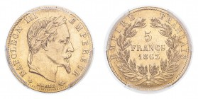 FRANCE. Napoleon III, 1852-70. Gold 5 Francs 1863-BB, Paris. 1.61 g. Gad-1002; Fr-589. In US plastic holder, graded PCGS AU55, certification number 35...