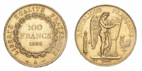 FRANCE. Third Republic, 1870-1940. Gold 100 Francs 1885-A, Paris. 32.26 g. Gad-1137; Fr-590. EF or better.