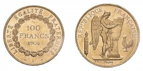 FRANCE. Third Republic, 1870-1940. Gold 100 Francs 1904-A, Paris. 32.26 g. Gad-1137; Fr-590. EF or better.