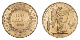 FRANCE. Third Republic, 1870-1940. Gold 100 Francs 1908-A, Paris. 32.26 g. Gad-1137; Fr-590. EF or better.
