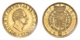 GERMANY: HANNOVER. William IV, 1830-37. Gold 5 Taler 1835-B, Hannover. 6.66 g. Fb-1166; Schl-385; J-115; AKS-58. EF, hairlines.