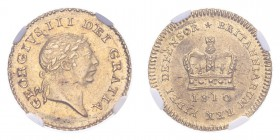 GREAT BRITAIN. George III, 1760-1820. Gold 1/3 Guinea 1810, London. 2.8 g. S-3740; Fr-367. In US plastic holder, graded NGC AU58.