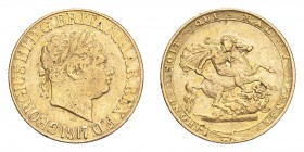 GREAT BRITAIN. George III, 1760-1820. Gold Sovereign 1817, London. 7.99 g. S-3785; Fb-371. AVF.