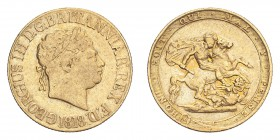 GREAT BRITAIN. George III, 1760-1820. Gold Sovereign 1818, London. 7.99 g. S-3785; Fb-371. AVF.