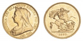 GREAT BRITAIN. Victoria, 1837-1901. Gold 5 Pounds 1893, London. 39.94 g. S-3872; Fb. 394. EF.