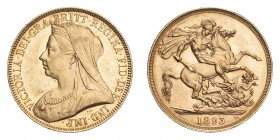 GREAT BRITAIN. Victoria, 1837-1901. Gold 2 Pounds 1893, London. 15.98 g. S-3873; Fb. 395. UNC.