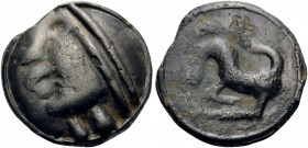 CELTIC, Gaul. Sequani. Circa 70-40 BC. Unit (Potin, 19 mm, 5.09 g, 3 h). Celticized head with headband to left. Rev. Horned animal with S-shaped tail ...