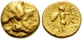 CELTIC, Central Europe. Boii. 3rd/2nd century BC. 1/8 Stater (Gold, 8 mm, 1.02 g, 11 h). Head of Athena to right, wearing crested Corinthian helmet. R...