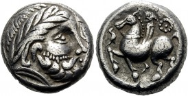 CELTIC, Middle Danube. Pannonian region, 3rd century BC. Tetradrachm (Silver, 18 mm, 13.64 g, 7 h), imitating a tetradrachm of Philip II of Macedon. C...