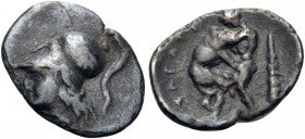 APULIA. Teate. Circa 325-275 BC. Diobol (Silver, 13 mm, 0.86 g, 5 h). Head of Athena to left, wearing Corinthian helmet. Rev. TIATI Hercules striding ...