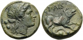LUCANIA. Paestum (Poseidonia). Second Punic War, 218-201 BC. Sextans (Bronze, 15 mm, 3.27 g, 10 h). Wreathed head of Demeter to right, with mark of va...