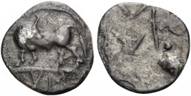 LUCANIA. Sybaris. Circa 550-510 BC. Obol (Silver, 10 mm, 0.39 g, 1 h). YM Bull standing left, head right. Rev. Large M above V; four pellets at corner...