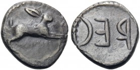 BRUTTIUM. Rhegion. Anaxilas, tyrant, circa 494/3-462/1 BC. Litra (Silver, 10 mm, 0.37 g, 1 h), c. 480-462/1. Hare springing to right. Rev. REC within ...