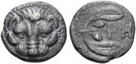 BRUTTIUM. Rhegion. Circa 415/0-387 BC. Litra (Silver, 9 mm, 0.64 g, 9 h). Lion's mask facing. Rev. PH Olive sprig, with two leaves and two olives. Her...