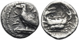 SICILY. Akragas. Circa 450-440 BC. Litra (Silver, 9 mm, 0.62 g, 12 h). ΑΚ - RΑ Eagle, with closed wings, standing left on Ionic column capital. Rev. Λ...